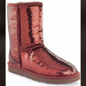 UGG Short Maroon Sequins Boots